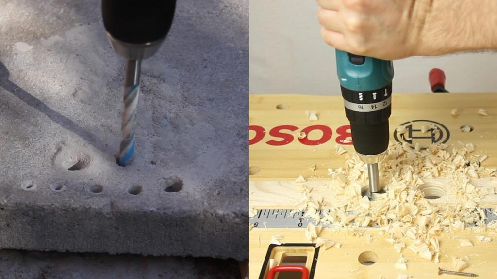 Bohrleistung in Beton und Holz beeindruckend.